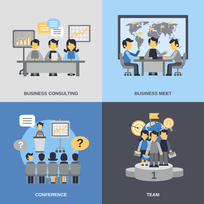 Meeting design concept set with business consulting team conference flat icons isolated vector illustration